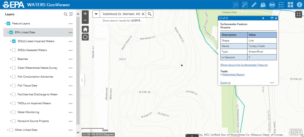 EPA WATERS GeoViewer sample screen